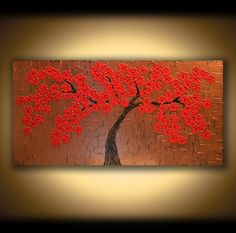LARGE CANVAS ART Painting Wall Art Modern Art Tree Art Painting, Red Blooming Tree of Life, Gold Palette Knife Art Cherry Blossom Art Mural on Etsy, $595.00