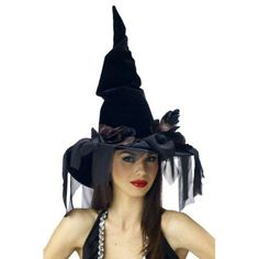 Witch hat deluxe winding Black velour witch hat with rust and black colored net roses, chiffon veils, and beads. Just twist and fluff the flower petals for a great look! Adjustable band and bendable wire for shaping the crown Halloween Costume Hats, Wizard Costume, Halloween Witch Hat, Witch Costumes, Halloween Costume Accessories, Halloween Fabric, Adult Halloween, Halloween Makeup, Witch Hats