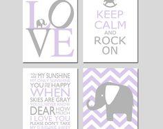 Baby Girl Nursery Decor Art - Chevron Elephant, Love, Keep Calm Rock On, You Are My Sunshine - Set of 4 Prints - CHOOSE YOUR COLORS