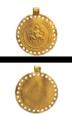 A Roman gold pendant with a depiction of Heracles, century A. Byzantine Jewelry, Renaissance Jewelry, Medieval Jewelry, Ancient Jewelry, Antique Gold, Antique Jewelry, Gold Jewelry, Jewlery, Historical Artifacts