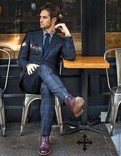 Blue patterned suit.
