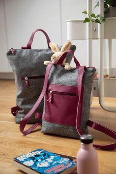 Rucksack: Rucksack aus österreichischem Loden, 100% Merinowolle und mit Details aus Leder. Ein alltäglicher Begleiter. Passend zum modernen Outfit und zu Tracht und Dirndl. Auch Kinderrucksack ----- Bagpack made from Austrian loden, 100% merinowool and dirndl cotton, details from leather. Rucksack, suitable for business and leisure. Fitting for modern outfit and traditional clothes like a Dirndl. Bagpack for children. #bagpack #sustainablefashion #rucksack Moderne Outfits, Shopper, Clutch, Babys, Burlap, Christmas Gifts, Reusable Tote Bags, Gift Ideas, Pink