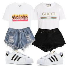 A fashion look from January 2018 featuring levi shorts, denim shorts and sports shoes. Browse and shop related looks. Levi Shorts, Sports Shoes, Sisters, Fashion Looks, Gucci, Adidas, Denim, Polyvore, Shopping