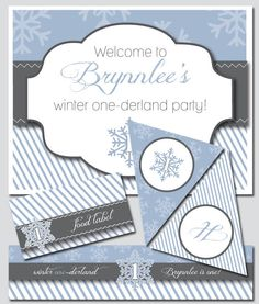 Winter Onederland Party Invitation and Decorations by thinkRSVP, $30.00