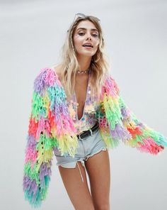 Buy PrettyLittleThing Multi Coloured Shaggy Cardigan at ASOS. With free delivery and return options (Ts&Cs apply), online shopping has never been so easy. Get the latest trends with ASOS now. Music Festival Outfits, Festival Wear, Festival Fashion, Concert Outfits, Music Festivals, Style Photoshoot, Quirky Fashion, Festival Looks, Asos