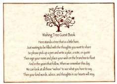 Silver Glittery Card Back Wishing Tree Sign Wedding Bridal Shower Party Anniversary Customized Color 059 600 Via Etsy