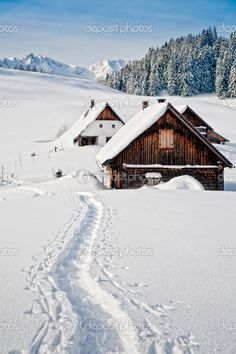 Winter landscape with small hut in the Austrian Alps, Austria I want to try at least one winter like this.