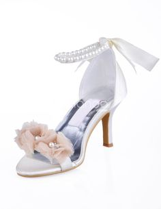 Home Bridal & Evening Shoes Ivory Open Toe Satin Flowers Pearls Wedding Evening Party Shoes Bridal Sandals, Decorated Shoes, Satin Flowers, Shoe Clips, 3 Inch Heels, Evening Shoes, Wedding Shoes, Wedding Stuff, Party Shoes