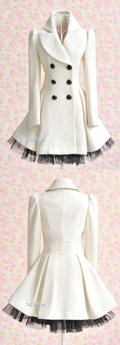 "Princess Lolita - Long Lace White Jacket Coat (perhaps not ""designer"" but very cute)I would love to wear this very pretty outfit Cute Fashion, Look Fashion, Winter Fashion, Womens Fashion, Fashion Design, Fashion Trends, Fashion Coat, Coat Dress, Dress Up"