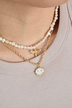 18k Gold Filled Rope Smiley Face Necklace Gold Coin Necklace, Bead Necklaces, Anklet Jewelry, Jewlery, Wardrobe Ideas, Capsule Wardrobe, Multi Layer Necklace, Summer Jewelry, Schmuck
