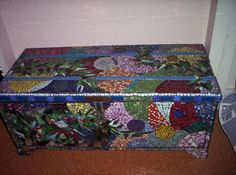 Another beautiful mosaic on an old blanket box - Art from what other people call trash! We love it!! by I've Got My Mojo #art #upcycle #design #mosaic #antiques