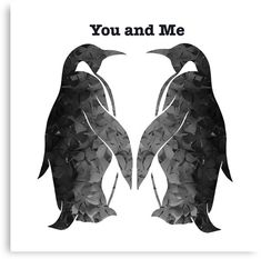 'Two penguins' Canvas Print by MidnightMagpie Pinguin Drawing, Pinguin Tattoo, Key Tattoos, Tatoos, Husband Tattoo, Animals And Pets, Cute Animals, Penguin Art, Cute Penguins