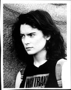 Lara Flynn Boyle (Donna in Twin Peaks) wearing Wax Trax! Records t-shirt. 1992