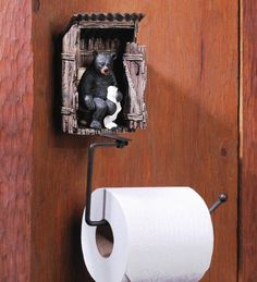 Bear Outhouse Toilet Paper Holder Rustic Cabin Wildlife Bathroom Decor New Homelocomotion