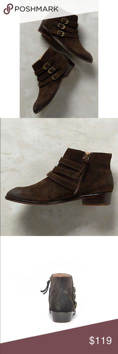 "Brown Suede Triple Threat Buckle Booties Fits true to size Side zip Distressed Suede upper Leather insole Dimensions 1.25"" stacked leather heel. By Naomi Reid X Anthropologie Anthropologie Shoes Ankle Boots & Booties"