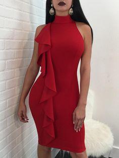 39ead772d69 Solid One Side Ruffles Slinky Bodycon Dress Stunning Dresses
