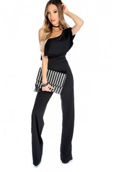 f9edc710607 Sexy Black Off The Shoulder Short Sleeve Ruffle Jumpsuit