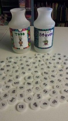 Even Steven & Odd Todd math activity. Using aater bottle caps for the even/odd number sorting!