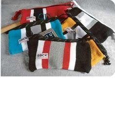bags made out of recycled hockey socks. You heard me.Accessory bags made out of recycled hockey socks. You heard me. Hockey Socks, Hockey Gear, Hockey Tape, Hockey Girls, Hockey Mom, Hockey Stuff, Hockey Birthday, Hockey Party, Hockey Tournaments