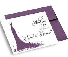Wedding Card Personalized, Will You be My Bridesmaid, Maid of Honor, Flower Girl, Custom  - Calligraphy