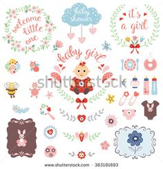 7c6df5e03 A set of cute items for newborn baby girl. Baby shower design elements  isolated on white background. Vector illustration.