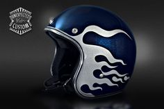 "Open face helmet ""Blue & Flames""Unexpected Custom - Fine Arts Unlimited... for Bikers"