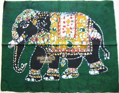 elephant batik painting wall hanging tie & dye cotton fabric runner tapestry handmade ethnic throw decor art Indian handmade gift green