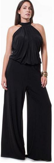 Sexy Plus Size Black Jumpsuit   This jumpsuit has everything going for it! The waist is an elastic waist, super comfortable, and makes for a perfect fit on your body!  Pants of the jumpsuit are nice and wide and flowing.