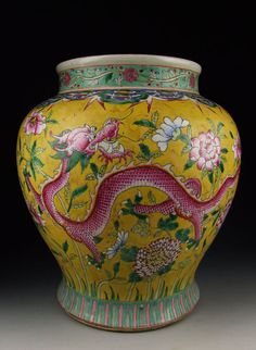 Qing Dynasty DaoGuang Imperial Ware Famille Rose Glaze Porcelain Vase with Dragon and Flower Pattern