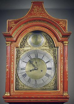 A George III Red Lacquer and Gilt Longcase Clock by John Day, Wakefield 1770   - Hyde Park Antiques, Ltd. Old Clocks, Antique Clocks, Clocks Inspiration, Wakefield, Hyde Park, Inspire, Antiques, Red, Diy Clock