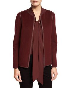 TCLW2 Lafayette 148 New York Keaton Collarless Leather-Trimmed Jacket…