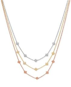 Tri-Tone Decorative Triple Necklace in 14k Rose, White and Gold, Made in Italy - Tri-Tone