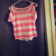 Sheer stripe tee Striped sheer tshirt with exposed shoulder cut outs. Perfect for summer as a bathing suite throw over or with shorts. Needs something underneath though. Never worn. Charlotte Russe Tops Tees - Short Sleeve