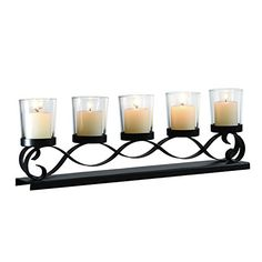Adeco Decorative Iron Horizontal Table Standing Candle Pillar Holder Antique Vintage Wave Style Classy Home Decor Accents * Click image to review more details.