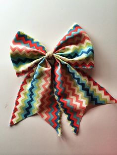Bright Spring Chevron Bow, 11 inches, with Tail for Wreaths, Curtains, Walls, Chairs on Etsy, $20.00