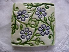 Handmade Ceramic Tile Blue and Green Wood Block by tigercattiles