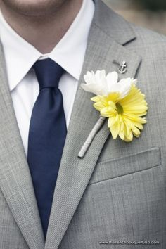 Sweet and Subtle Yellow and White Gerber Daisy Boutonniere