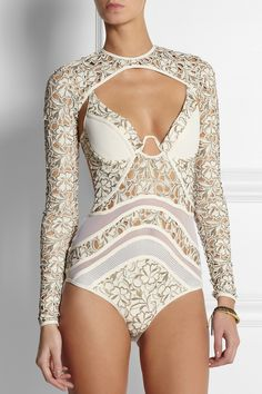 Zimmermann | Good Love embroidered swimsuit and coverup