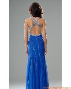 Sexy Designer Beaded Blue Chiffon Backless Prom Dress for Customer 2013
