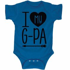 I Heart My G-Pa Grandpa Infant One Piece. Funny #GrandpaShirts for the kids are great for #GrandparentsDayGifts surprises, especially for first Grandpas!