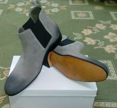 HANDMADE MAN GRAY ANKLE HIGH CHELSEA SUEDE LEATHER BOOT - Boots