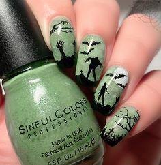 Holiday Nail Designs, Halloween Nail Designs, Halloween Nail Art, Cool Nail Designs, Holiday Nails, Halloween Costumes, Pedicure Nail Art, Gel Nail Art, Easy Nail Art