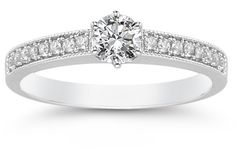 ApplesofGold.com - 0.40 Carat Milligrain Diamond Ring in 14K White Gold Wedding Jewelry $900.00