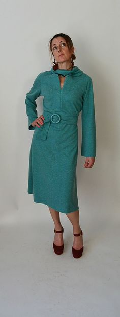 Stunning turquoise Albert Nipon knit dress, with unusual attached neck scarf and matching belt. this dress looks amazing on, its big on me but it still looked great. Like a classic. Zips up the front, so you can make it as low and sexy as you like. All measurements are taken while garment is laying flat.  shoulders 13.5  sleeves 24 inches  armpit to armpit 19 inches (38 inches around)  waist 17 inches(34 inches around)  hips 19.5 inches (39 inches around)  nape to hem 45.5 inches…