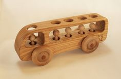 Wooden Bus - Wooden toy Car - Chestnut wood.
