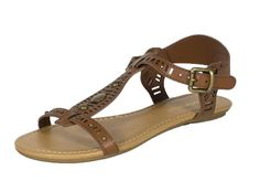 Jorca! By City Classified Open Toe T-Strap Cut Out Studded Strappy Flat Sandal in Dark Tan Leatherette -- Details can be found by clicking on the image. #shoes