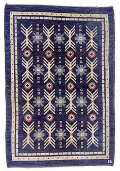 Sweden   Sigvard Bernadotte, 'Matta' handwoven flatweave rug (kilim), 1950s