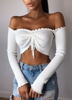 Women Fashion Edgy Long Sleeve strapless Cami Crop Vest Tank Top