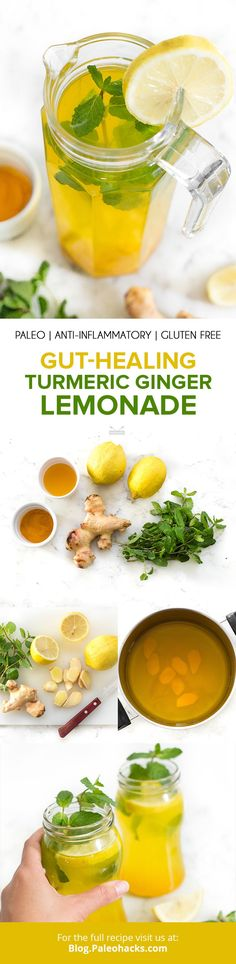 Whip up this refreshing lemonade for a crowd, complete with the gut-boosting and anti-inflammatory properties of fresh ginger and turmeric. Turmeric Lemonade, Ginger Lemonade, Fresh Turmeric Root, Fresh Ginger, Turmeric Recipes, Paleo Recipes, Fresco, Healthy Smoothies, Smoothie Detox