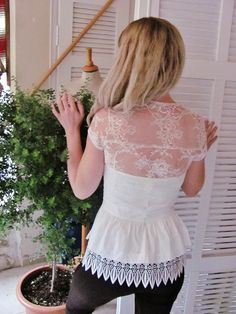 LIMITED EDITION by Angelika Liv Marquise de Anges bridal French lace bolero ivory lace shrug ivory lace jacket bridal bolero jacket. $85.90, via Etsy.